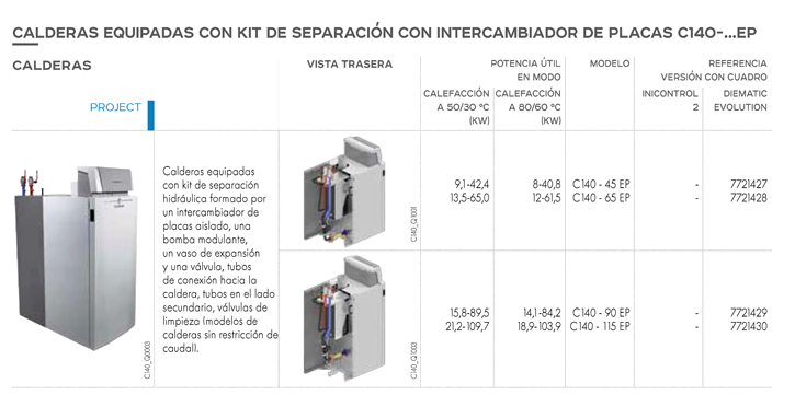 Calderas equipadas con kit de separación con intercambiador de placas C140-... EP