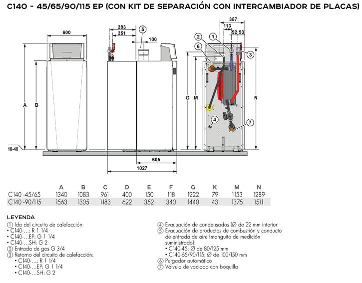 Dimensiones principales caldera C140 - 45/65/90/115 EP (con kit de separación e intercambiador de placas)