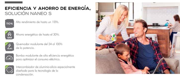 Eficiencia y ahorro de energía. Alto rendimiento, ahorro energético, quemador modulante, intercambiador de aluminio-silicio