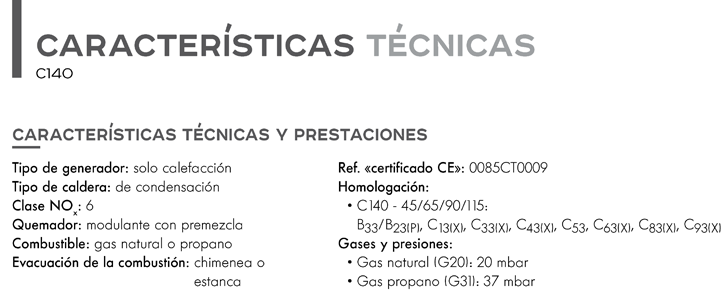 Características técnicas caldera Elidens C140